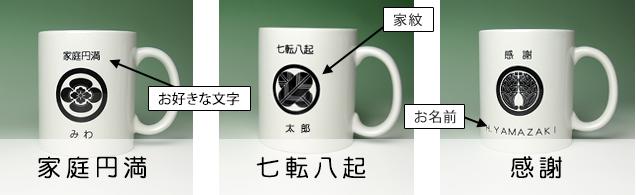 家紋入りマグカップ作成例